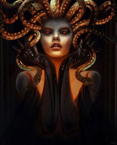 File:Medusa Gorgon Mythical Creature Art 20 by robshields.jpg