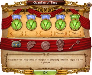 Gardian of Time Talisman rewards window