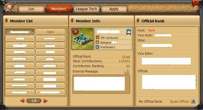 League tab members