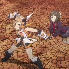 Hibiki protecting Miku
