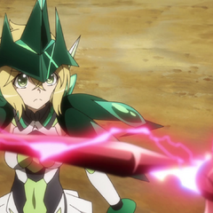 Kirika facing her Relic in its Ignite Module form.