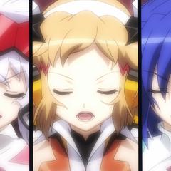 Chris, Hibiki and Tsubasa singing their superb song