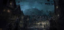 1600x764 18659 Lord of The Rings Concept Art 2d fantasy town night lord of the rings picture image digital art