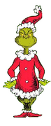 The grinch dressed as santa