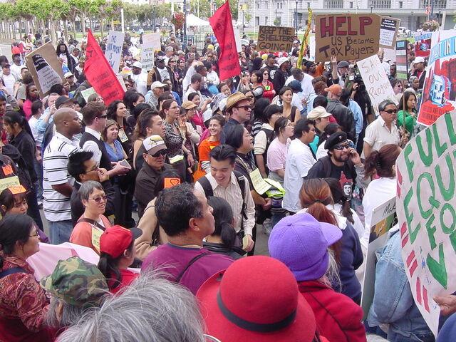 File:Crowds protest budget cuts that hurt needy.JPG