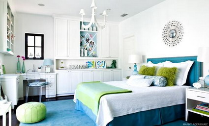blue and white themes decoration in small teenage girls bedroom decorating designs ideasjpg - Teenage Girl Bedroom Ideas Blue