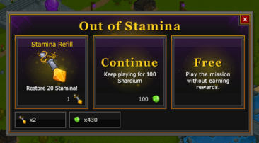 Out of stamina options