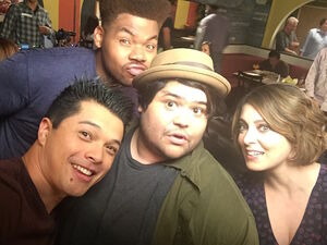 Guillen with the rest of the cast