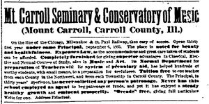 Davenport Gazette.1884-01-25.Mount Carroll Seminary and Conservatory of Music