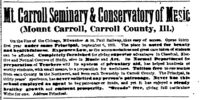 Davenport Gazette/1884-01-25/Mount Carroll Seminary and Conservatory of Music