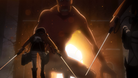 Mikasa and Armin confront the Titan