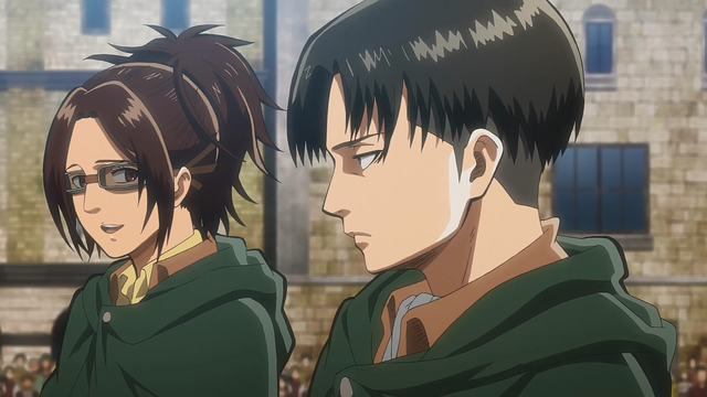 File:Hange teases Levi as they leave Trost District.png