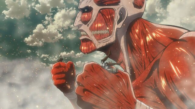 File:The Colossal Titan grabs Ymir and another soldier.jpg