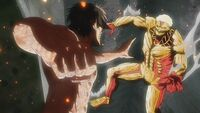 Eren transforms to fight the Armored Titan