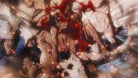 Titans devouring Ymir's Titan form