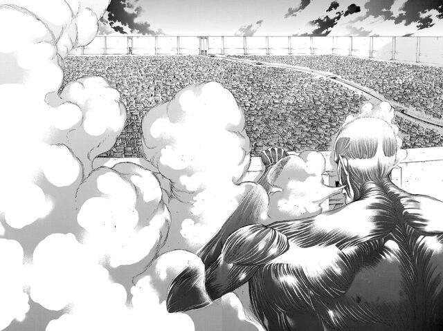 File:The Colossus Titan appears outside Shiganshina District.jpg