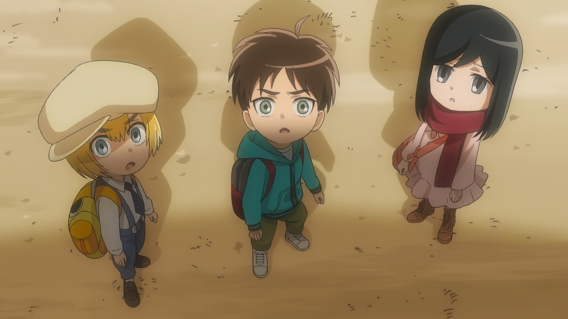 File:Armin, Eren and Mikasa see the Colossal Titan.jpg