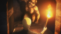 Reiner discovers a Titan inside the tower