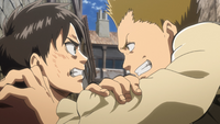 Eren grapples with a bully