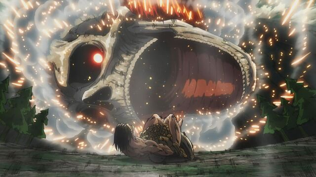 File:The Colossal Titan plunges into Eren and Reiner.jpg