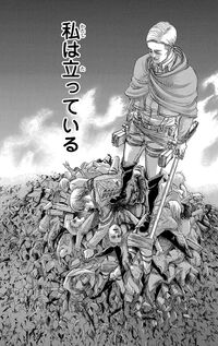 Erwin atop a mountain of corpses