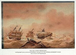 350px-The day after Trafalgar; the 'Victory' trying to clear the land with the 'Royal Soveriegn' in tow to the 'Euryalus'