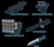 Submachine Gun-Gernade Launcher-Missile Launcher-Gatling Gun-Knife