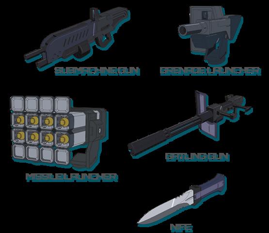 File:Submachine Gun-Gernade Launcher-Missile Launcher-Gatling Gun-Knife.png