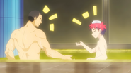 Sōma and Gin talking in the bath