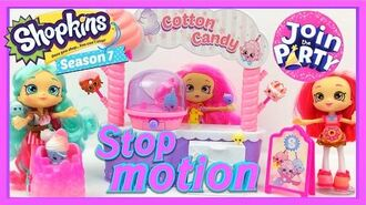 Shopkins Season 7 Cotton Candy Playset STOP MOTION Donatina, Peppa-mint, Bubbleisha Shoppies