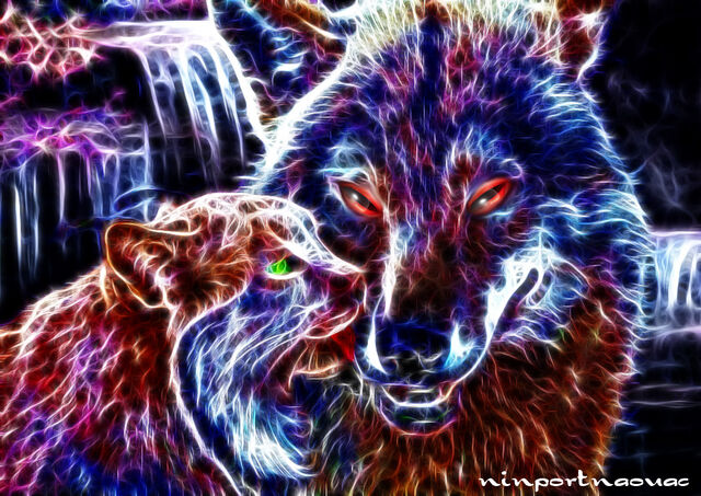File:Wolf and cats.jpg