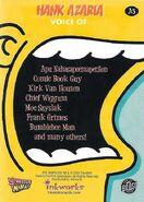 Simpsons Mania 2001 Trading Card - Hank Azaria