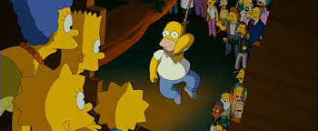 File:The Simpsons Movie Homer hanging from Noose with Angry Mob angrily stairring at him.jpg
