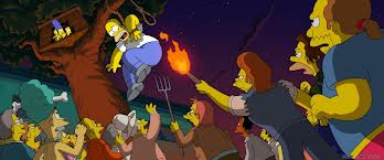File:The Simpsons Movie Angry Mob Attacking Homer from Tree House.jpg