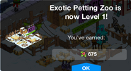 Exotic Petting Zoon Level 1 Upgrade Screen