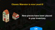 Classic Mansion Level 5 Upgrade Screen