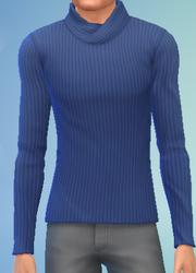 YmTop SweaterFoldedCollar Blue