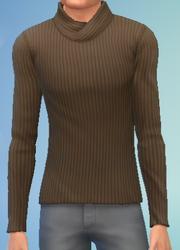 YmTop SweaterFoldedCollar Brown