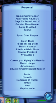Grim Reaper's traits