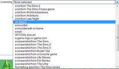 Wiki license dropdown menu