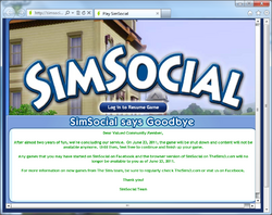 Simsocial Shutdown notice