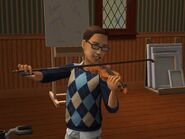 Wilford Playing his violin as a child