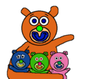 Orange with blue, green and pink teddy bears