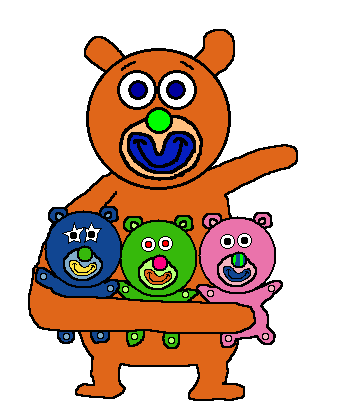 File:Orange with Blue, Green, and Pink Teddy bears.png