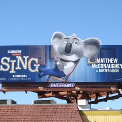Buster Moon appears on a billboard promoting <i>Sing</i> (location unknown)