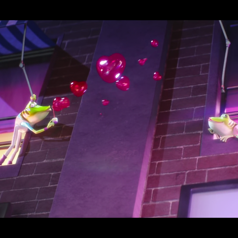 A frog blows heart-shaped bubbles to a lover on the other side.