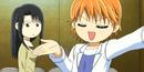 Chibi Kyoko with her eyes close with Kanae