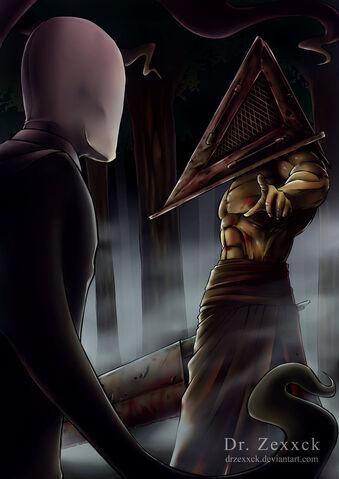 File:Halloween fight 2012 slenderman vs pyramid head by drzexxck-d5joqad.jpg