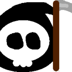 Death Slime by BluRu (A slime with a skull for face and Scythe for Weapon.)