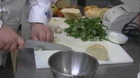 Recipe Chef Dave Heide's Farmers' Market Pesto with heirloom tomato bruschetta.
